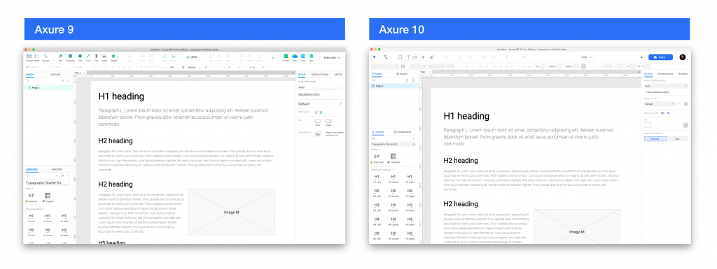 Axure 9 and 10 side by side UI comparison